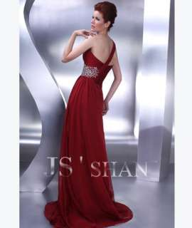 JSSHAN Burgundy Long Prom Gown Formal Evening Dress