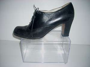 Womans EMPORIO ARMANI Black Leather Lace Up Heels Shoes Size 36.5 / 6