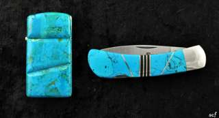 Pc Lot Genuine Turquoise Cased Pocket Knife & Zippo Lighter