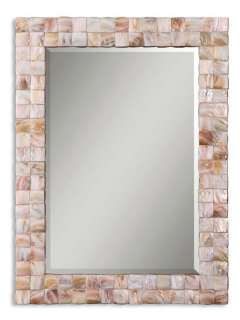 Pink Mother of Pearl Mosaic Tile Rectangle Wall Mirror