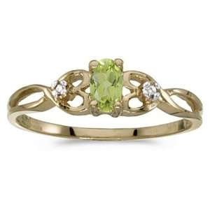 Yellow Gold August Birthstone Oval Peridot And Diamond Ring Jewelry