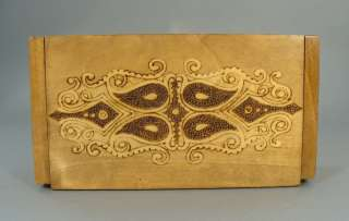 EARLY VINTAGE ART FOLK FLORAL WOOD TRINKET JEWELRY BOX