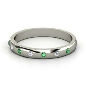 Button Band, 14K White Gold Ring with Diamond & Emerald