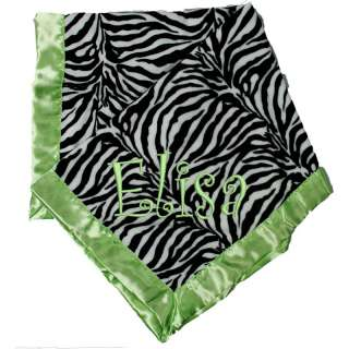 NEW Minky soft zebra with hot pink, lime, turquoise personalized baby