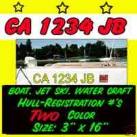 2color Hull Boat Registration NUMBERS PWC DECAL STICKER