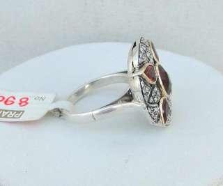 VICTORIAN DIAMOND & GARNET 14 CT GOLD SILVER RING INDIA