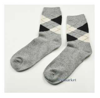 Hot Mens Christmas Socks Lattice Grid Pattern Winter Warm Wool Angora