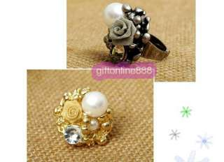 F003G Fashion lady rose flower pearl finger ring gold