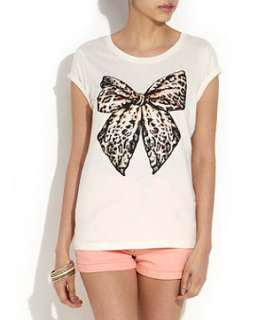 Winter White (Cream) Cream Leopard Print Bow T Shirt  257727112  New