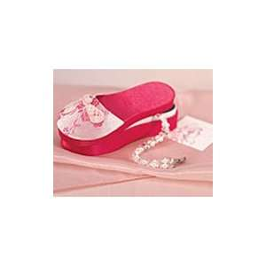 Asian Pink Brocade Slipper Favor Boxes (Set of 6): Kitchen