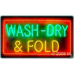 Neon Sign   Wash Dry & Fold   Extra Large 20 x 37