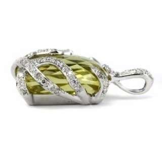 12.00CT LIME GREEN LEMON QUARTZ & DIAMONDS PENDANT NECKLACE 14K WHITE