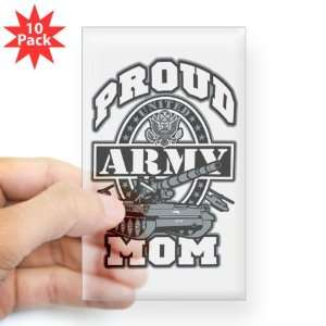 Sticker Clear (Rectangle 10Pk) Proud Army Mom Tank