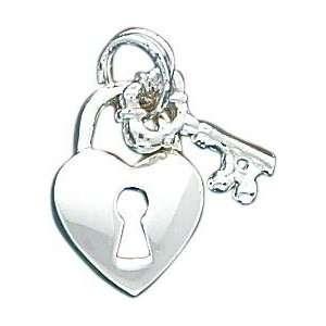Sterling Silver Heart & Key Charm Jewelry