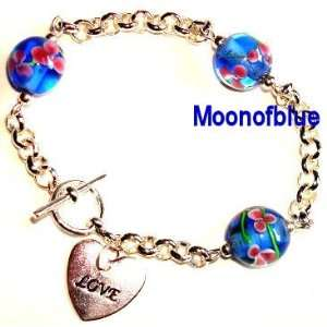 Sterling Plated Toggle Bracelet~Love Heart Charm