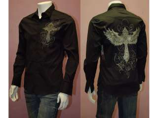 MENS T Shirt Cross & Angels Wings with Foil Print SZ M