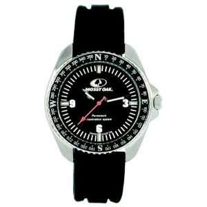 Mossy Oak CAMO Watch, Compass, Black Dial, Silver Case, Black Silicone