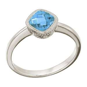 14K Yellow Gold December Birthstone Blue Topaz Cushion Ring: Jewelry