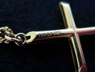 AVON Footprints in the Sand HEART & Gold Fill CROSS Pendant Necklace