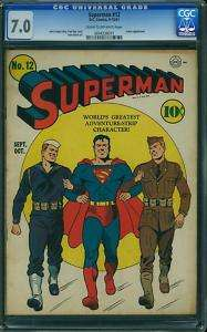 Superman #12 (1941) CGC 7.0 FVF WWII cover  