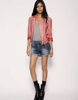 Jeans  Pepe Jeans London Pastel Coloured Leather Biker Jacket at