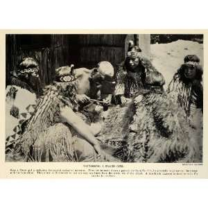 1932 Print New Zealand Maori People Costume Tattooing Bone