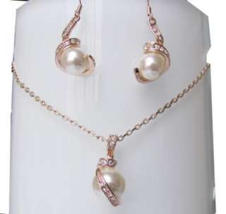 pearl rose gold GP wedding party earrings necklace set