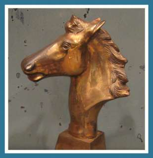 Vintage Brass Cowboy Western Horse Head Sculpture Bust