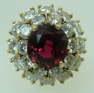 Ladies 18K Yellow Gold Diamond & Thai Ruby Ring