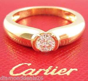 Fine Cartier Round Diamond Engagement Ring Solitaire 18K Yellow Gold