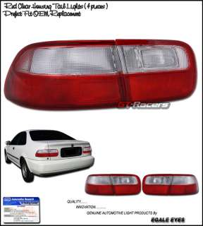 HONDA CIVIC EG COUPE/SEDAN JDM RED CLEAR TAIL LIGHTS