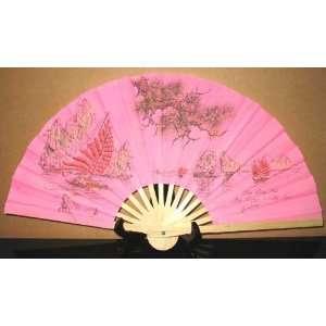 Vietnamese Silk Hand Fans   Halong Bay/.Pink   FB145