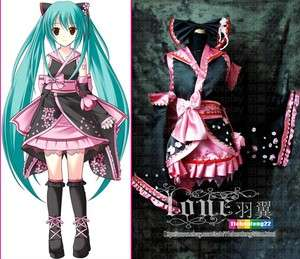 VOCALOID Hatsune Miku Sakura Kimono Lolita Cosplay