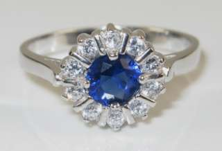 Estate .75ctw Blue & White Sapphire 925 Sterling Silver Ring 3g   Size