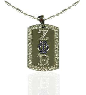 Zeta Phi Beta   Gem / Iced Dog Tag   NEW