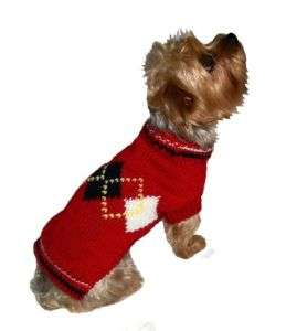 Argyle Red Knit Pet Dog Sweater Clothes
