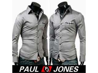 New Mens Pocket Design Casual Slim Fit Dress Shirts |