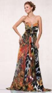 10832G Printed Satin Sweetheart Strapless Pageant Prom Dress Clothing