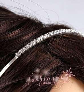 Silver Plated Clear Rhinestone Hair Band Headband Hoop
