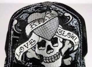 ED Hardy trucker Cap LOVE KILLS Skull Roses New Tiger