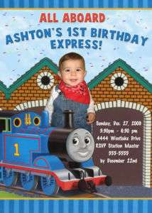THOMAS THE TANK TRAIN CUSTOM BIRTHDAY INVITATIONS