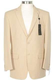 250 Andrew Fezza Slim Fit 38S Mens Tan Striped Cotton Blazer