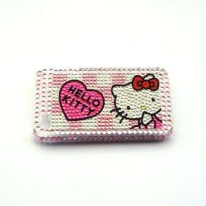 Hello Kitty pink with sivler Rhinestone Bling Crystal back