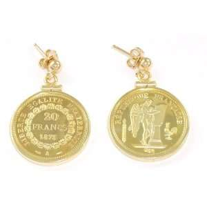 French Angel/Rooster 20 franc coin bezel earrings Jewelry