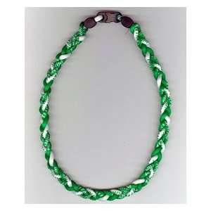 Ionic Braided Necklace   Green/White