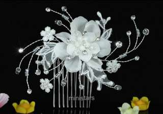 Bridal Ivory Fabric Flower Crystal Handmade Hair Comb T1463