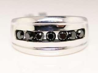 NEW MENS 7 STONE WHITE GOLD FINISH BAND 12 MM BLACK GENUINE DIAMOND