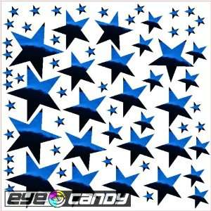 34 Chrome Blue Stars Wall Stickers Decals Mural Words