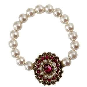 Pearl Armlet / Baju Bandh with Kundan Floral Motif   Get