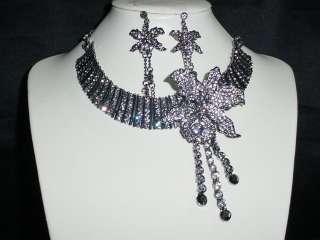 ANTIQUE BLACK CRYSTAL ORCHID NECKLACE & EARRINGS SET